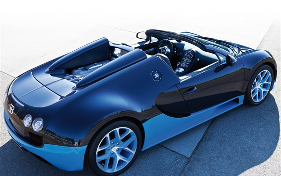 Wallpaper Bugatti Veyron blue roadster