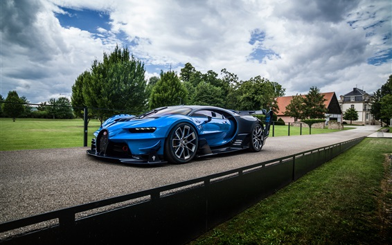 Wallpaper Bugatti Vision Gran Turismo blue hypercar, road, clouds
