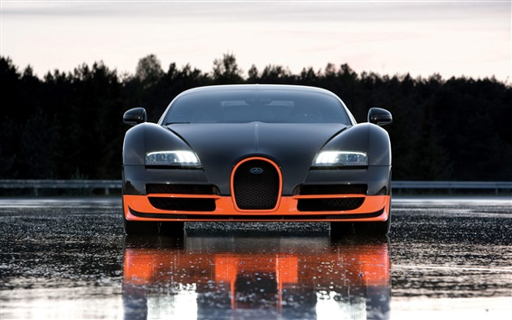 Wallpaper Bugatti supercar front view, wet road