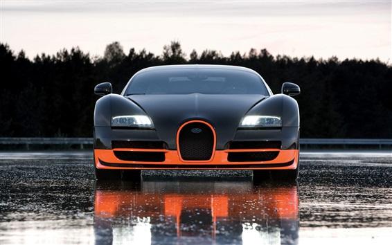 Обои Bugatti суперкар вид спереди, мокрой дороге