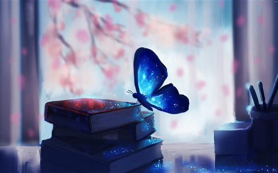 Wallpaper Butterfly and books, magic, blue, creative art drawing