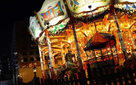Wallpaper Carousel at night, lights, city, Guangzhou, China