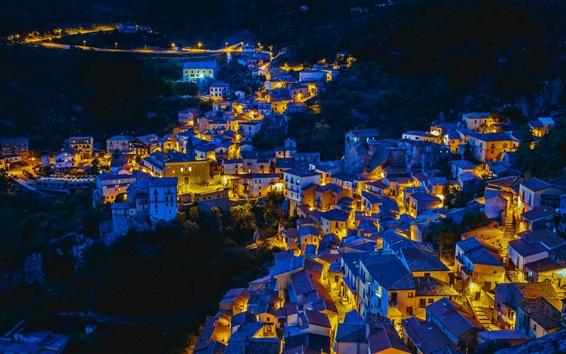 Fond d'écran Castelmezzano, Italie, maisons, nuit, lumières