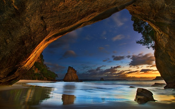 Wallpaper Cathedral Caves, New Zealand, sea, clouds, dusk