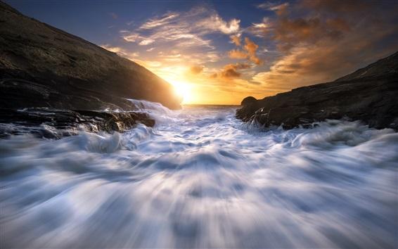 Wallpaper Celtic Sea, water stream, coast, rocks, sunset