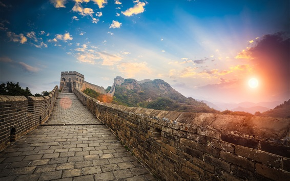 Wallpaper China landscape, Great Wall, clouds, sunset