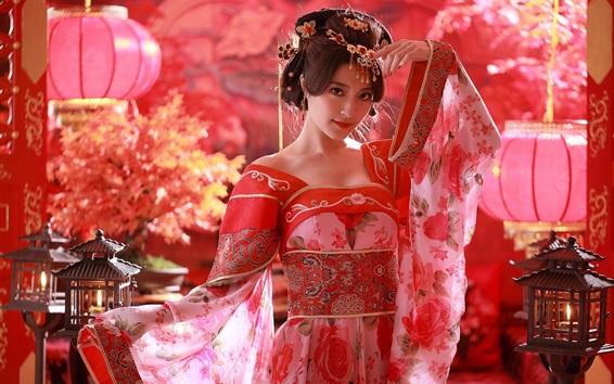 Fond d'écran fille chinoise, robe rouge, costumes de la Dynastie Tang