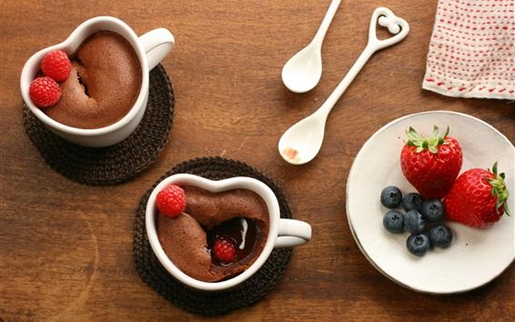 Wallpaper Chocolate dessert, cups, blackberries, strawberries, food, spoons