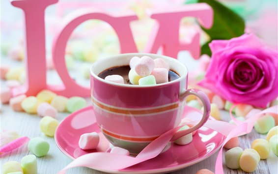 Wallpaper Chocolate drink, pink style, cotton candy, rose, love, Valentine's Day