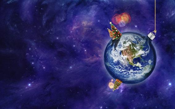 Wallpaper Christmas theme, creative, planet, earth, ball, space