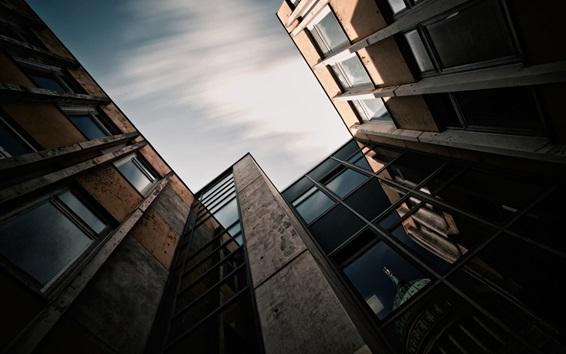 Fond d'écran Quartier, maison, bâtiments, se tournent vers le ciel