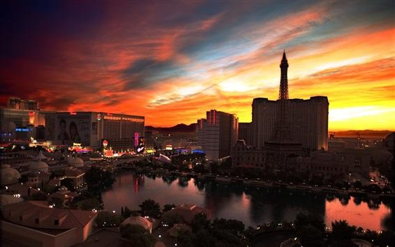 Wallpaper City night view, Las Vegas, casino, buildings, lights, sunset, red sky