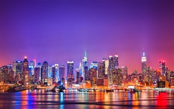 壁紙 夜、高層ビル、建物、水、ライトでニューヨーク市