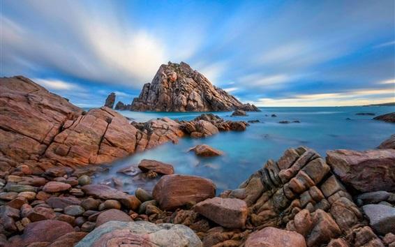 Обои Побережье, скалы, море, голубое небо, облака