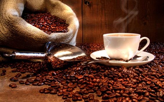 배경 화면 커피 음료, 컵, 접시, 커피 콩