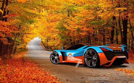 Wallpaper Cool Ferrari supercar in autumn