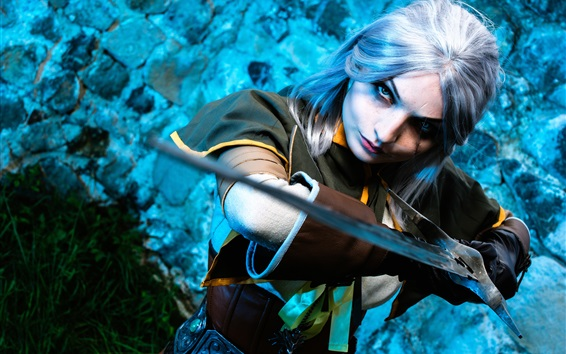 Wallpaper Cosplay girl, The Witcher Hunter, sword