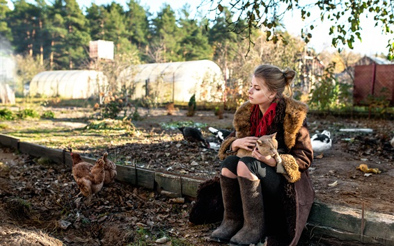 Wallpaper Countryside girl, cat, chickens