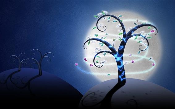 Wallpaper Creative art picture, trees, butterflies, flowers, moon, night