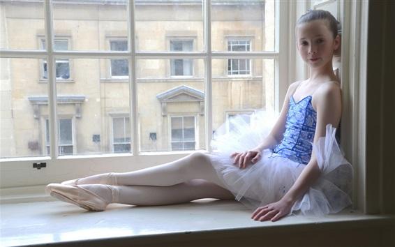 Wallpaper Cute ballerina little girl sit at window side