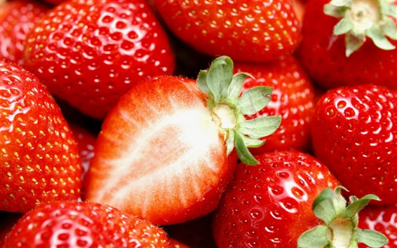 Wallpaper Delicious and juicy strawberries, fruit macro photography