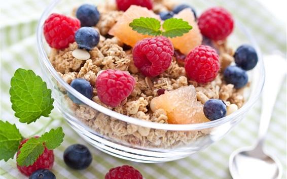 壁紙 美味しい朝食、ラズベリー、ブルーベリー、フルーツ、食品