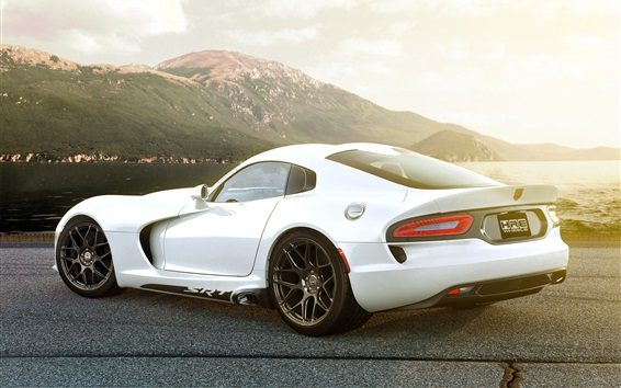 Wallpaper Dodge SRT Viper GTS white car rear view