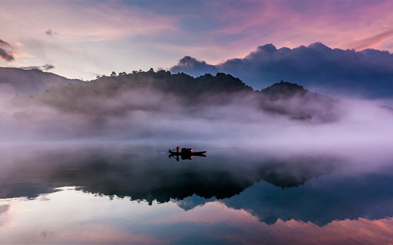 Wallpaper Dongjiang, river, boat, morning, fog, mountains, water reflection, China nature