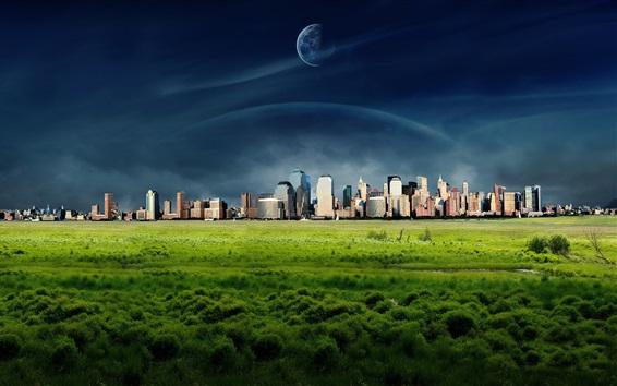 Wallpaper Dreamy World, New York city, grass, clouds