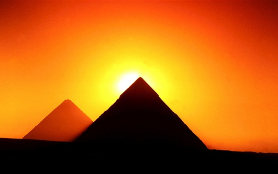 Wallpaper Egypt, Giza, pyramids, sunset, red sky, silhouette