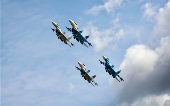 Wallpaper Falcons fighters in sky, Russia