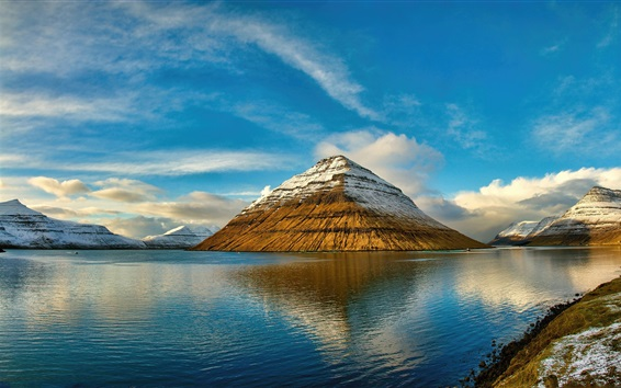 Wallpaper Faroe Islands, mountains, sea, clouds, water reflection