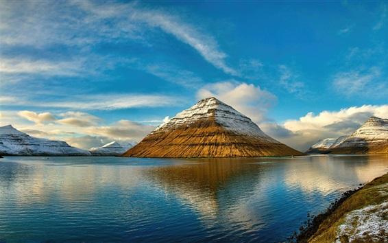 Papéis de Parede Ilhas Faroé, montanhas, mar, nuvens, reflexão da água