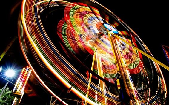 Fondos de pantalla rueda de la fortuna, luces de colores, noche, dispositivos de entretenimiento