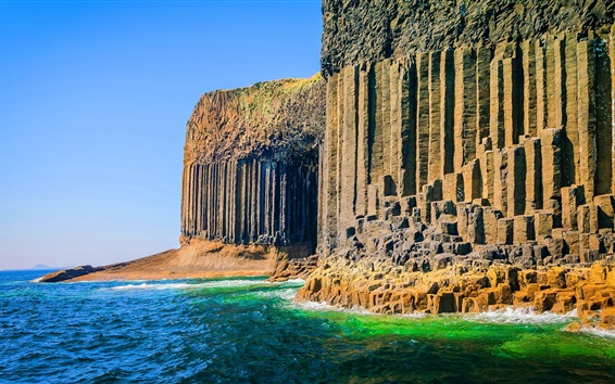 Обои Пещера Фингалова, Внутренней Гебриды Шотландии, море, скалы