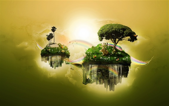 배경 화면 섬 플로트, 하늘, 나무, 잔디, 사슴, 무지개, 창조적 인 디자인