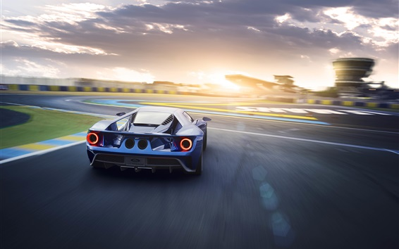 Wallpaper Ford GT II blue supercar back view and speed