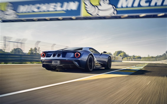 Wallpaper Ford GT II supercar in the race, back view