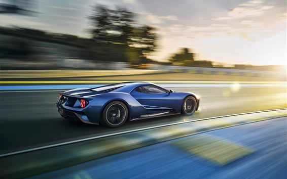 Wallpaper Ford GT supercar in high speed