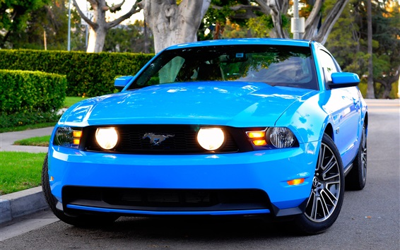 Обои синий автомобиль вид спереди Ford Mustang GT