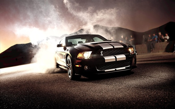 Wallpaper Ford Mustang Shelby GT500 black car front view