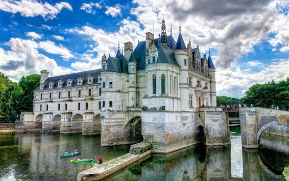 Wallpaper France, castle, water, clouds