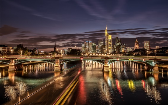 Wallpaper Frankfurt, Germany, river, illumination, bridge, skyscrapers, night