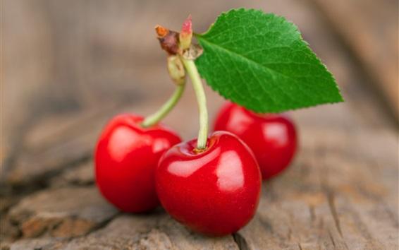 Papéis de Parede fotografia macro cerejas vermelhas frescas