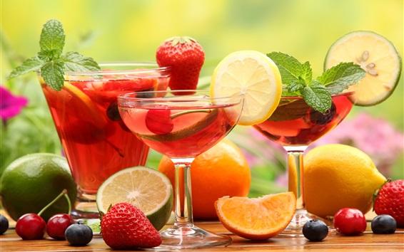 Wallpaper Fruit drinks, glass cups, strawberry, lemon, lime, orange, cherries