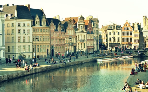 Wallpaper Ghent, Belgium, city view, houses, river, people