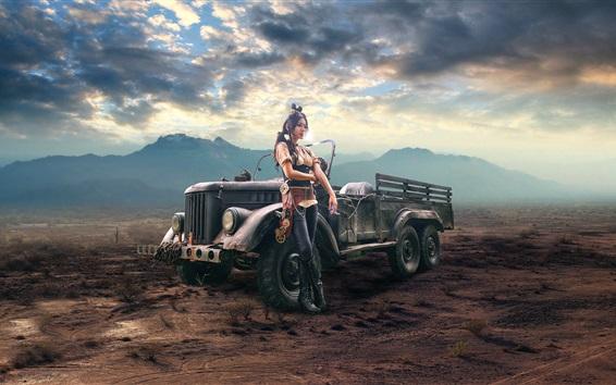Обои Девушка и автомобиль, сигареты, стимпанк, ретро-стиль
