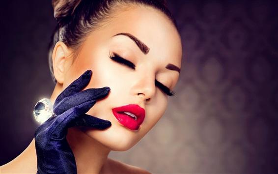 Wallpaper Girl makeup, red lipstick, eyelashes, gloves, diamond ring