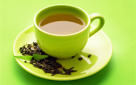 Wallpaper Green tea, cup, saucer