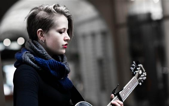 Fond d'écran Guitare fille, musique, lèvres rouges